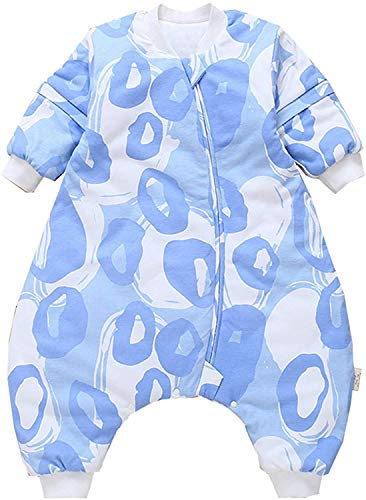 YZHM Baby-Schlafsack mit Legs Warm 2.5 Tog Winter mit abnehmbarem Langarm Winter Schlafsack mit Fuß (90/36-48 Monate, Blue House),Blue Abstract,70/6-18 Monate