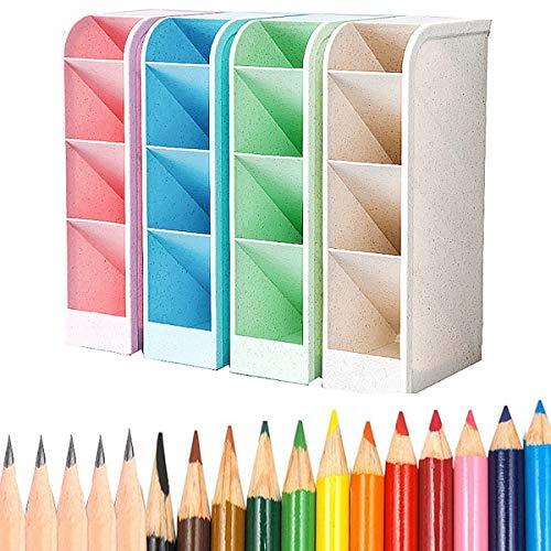 Organizador de Escritorio para Lápices,Liuer 4PCS Lapiceros para Escritorio,Cajitas de Almacenamiento para Oficinas,Profesores,Colegios,Rotuladores,Bolígrafos de Gel,Pinceles(con 22 Lápices)