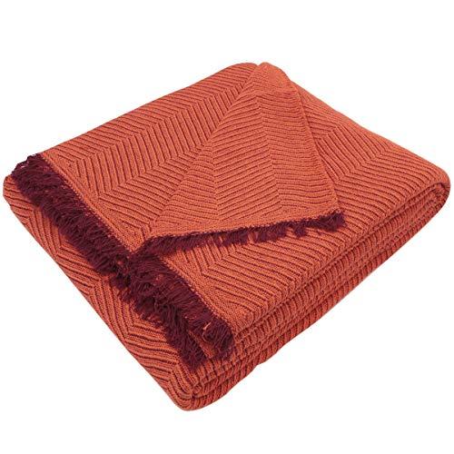 MERCURY TEXTIL- Colcha Multiusos Sofa,Manta Foulard,Plaid para Cama,Cubresofa Cubrecama,jarapas,Comoda Practica y Suave. Poliester Algodón (180 x 260cm, Espiga Naranja Granate)