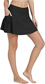 Mujeres Bikini Falda de baño Tankini Pocket Vestido Corto de Playa Traje de baño Pantalones