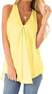 desolateness Women Solid Color V Neck Tops Sleeveless Asymmetrical Hem Casual Chiffon Blouses