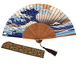 Chinese Handmade Handheld Folding Fan (Sea Wave)