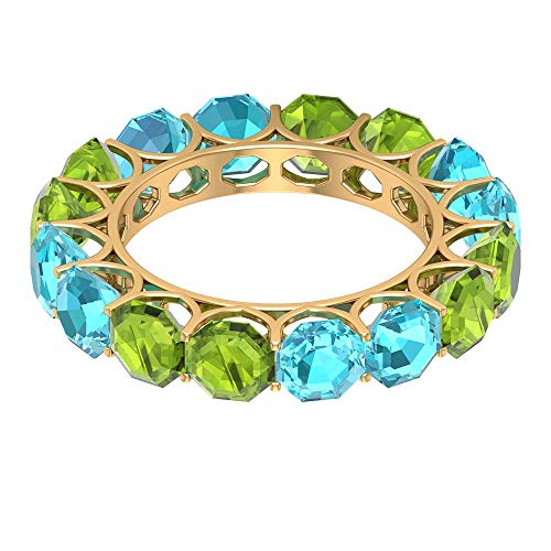 Anillo de eternidad suizo de topacio azul de 4,4 quilates, anillo alternativo de peridoto octogonal de 4 quilates, anillo de boda único, anillo de aniversario delicado, 18K Oro blanco, Size:EU 55
