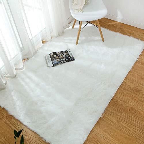 ZCZUOX Fuskskinn, fuskpälsmatta, fluffig matta för sovrummet, vardagsrummet eller barnkammaren, lurvig matta eller överkast för stolar, pallar och soffa (vit, 80 x 180 cm)