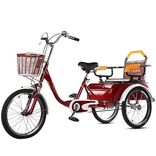 Triciclo de Adultos Triciclo Adulto Bicicleta De Tres Ruedas Con Cesta De Carga Bicicleta De 3 Ruedas De 20 Pulgadas Triciclos Adultos Para Adultos Bicicleta Para La Bicicleta Para La Recre(Color:red)