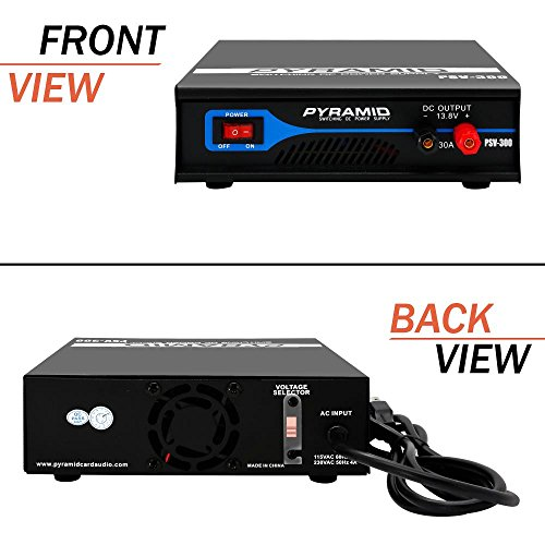 Universal Compact Bench Power Supply - 30 Amp Regulated Home Lab Benchtop AC-to-DC Converter w/ 13.8 Volt DC 115/230V AC Switchable, Screw Type Terminals, Cooling Fan - Pyramid PSV300