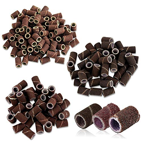 50pcs Cylindrical Grinding Heads Abrasive Sleeves Sanding Bands 80/120/180 for Nail Drill Manicure Tools CHAOCHAO (Grit : 80)