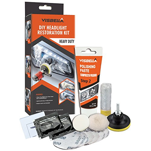 Visbella DIY Headlight Restoration Kit Renewal with Protectant Fix Remove Buffer and Polish Cloudy Lights Taillights Fog Lights Directional Lights Clear