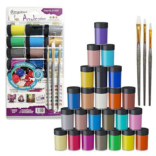 yoyoblue Acrylfarben Set - 24 Ölfarben je 25 ml mit 3 Pinsel, Hochwertige Ungiftige, für Steine...