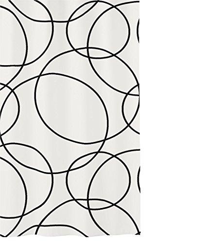Kleine Wolke Rings douchegordijn, polyester, zwart wit, 180 x 200 x 0,2 cm