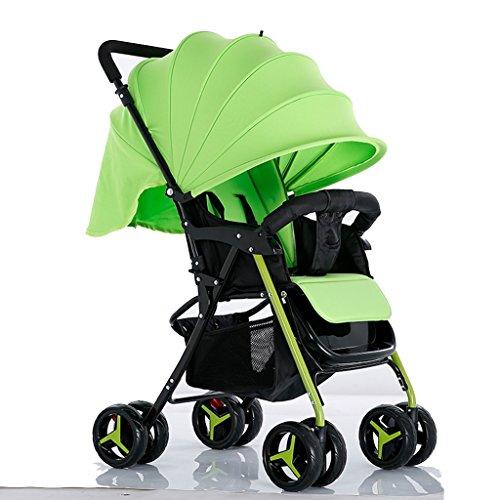 Baby Trolley High Landscape Peut s'allonger Ultra-léger Portable Foldable 1-3 Ans Enfant Bébé élargi Enjambé Deux-Way Baby Carriage Acier Pipe Parapluie Car Trolley Oxford Cloth -by Virtpers