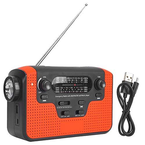 Outbit Bluetooth Radio Solar - Kunststoff Rot Solar Tragbare Handkurbel Multiband AM/FM/SW Bluetooth-Karte Plug-in Radio Multifunktions-LED-Taschenlampe(rot)