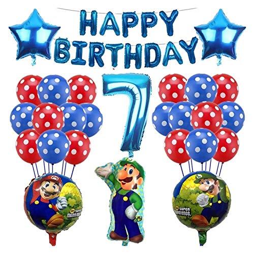 LIANGLMY Globo 1set Mario Globos 32 Pulgadas número Globos Muchacha Muchacha cumpleaños Fiesta Mario Luigi Bros Mylar Azul Rojo Globo Conjunto decoración (Color : Blue-6)