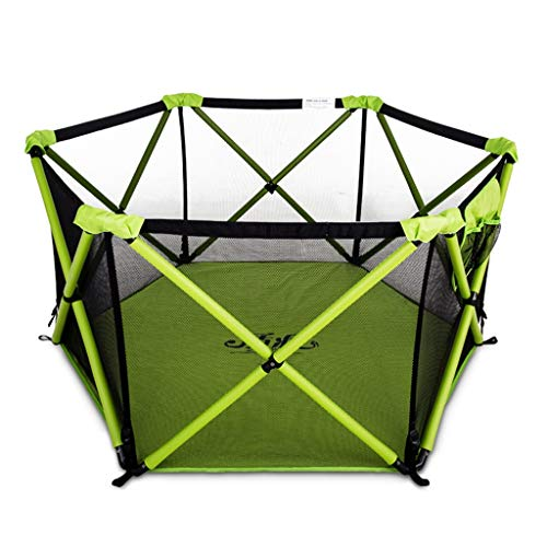 Children's Game Playpen Foldable Security Play Fence Indoor Playground Children's Ball Pool Game Area Best Gift (Color : Green, Size : 140x140x68cm)