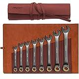Libraton Set Di 8 pezzi Chiavi Combinate set di chiavi e cricchetto, metric 8-19mm Cr-V costruito con placcatura in nichel e custodia organizer in pelle