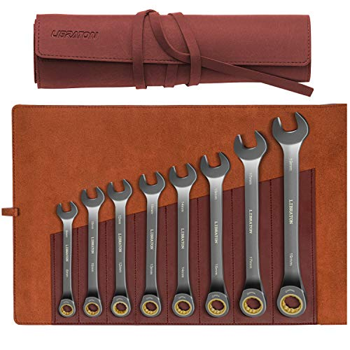 Libraton Ratcheting Combination Wrench Set 8-Pieces Metric Ratchet Wrench 8-19mm Cr-V Constructed with Nickel Plating and Leather Pouch