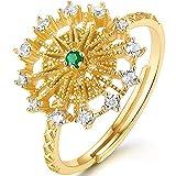 Anillo para mujer con diseño de rueda de fortuna, chapado en oro S925, anillo de dedo ajustable, anillo de compromiso, anillo de diamante hueco, regalo de joyería
