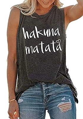 JINTING Hakuna Matata Tank Top Letter Print Tank Tops for Women Funny Tank Tops Funny Sleeveless Sayings Tank Tops Tee Shirts