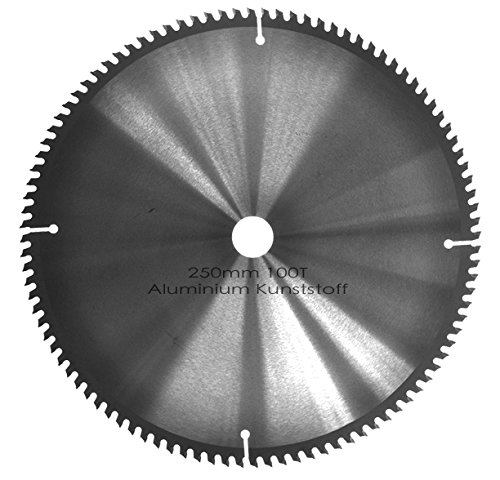 Kreissägeblatt Aluminium Kunststoff NE-Metalle Ø 250mm x 30mm HM 100 Zähne - Diamantschliff - inkl. 4 Reduzierringen.