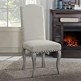 Overstock Nancy Victorian Nail Head Beige Upholstered Dining Chair Set of 2