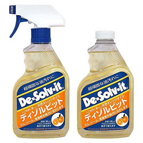 ディゾルビット 750ml(375ml×2) 2本パック 天然オレンジオイル 頑固な油汚れ落とし シールはがし ラベルはがし 接着剤はがし ガムはがし ハンドスプレータイプ