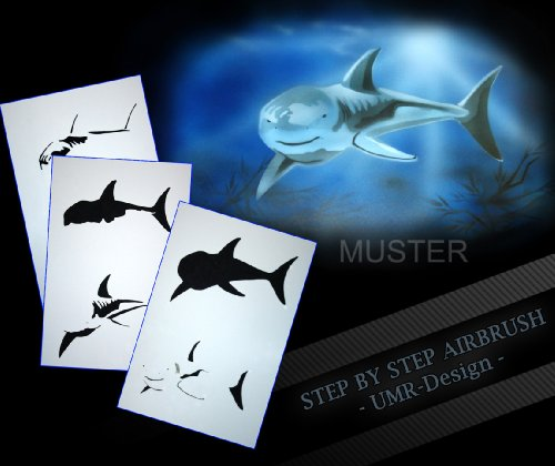 Step by Step Airbrush Schablone Hai AS-049