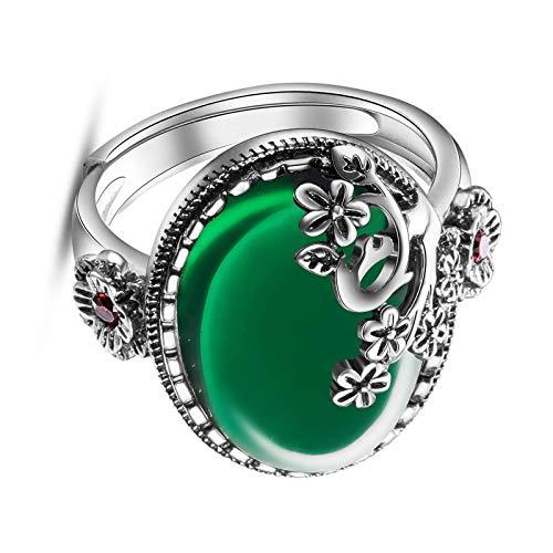 litulituhallo Anillo de plata de ley con circonita cúbica y flor tamaño 5 verde