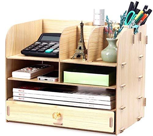 YYANG Schreibtisch Organizer Stifthalter Multifunktional Modern Square Makeup Aufbewahrungsbox Holz Stationär,Beige