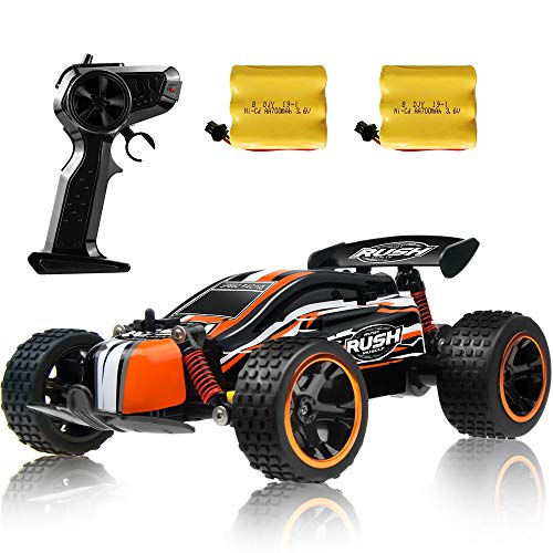 Sinovan RC Racing Car, 2.4Ghz High Speed Remote Control Car, 1:18 2WD Toy Cars Buggy for Boys & Girls with Two Rechargeable Batteries for Car, Gift for Kids (Orange)