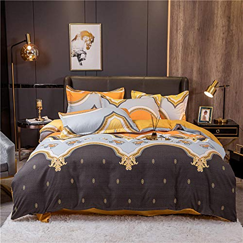 LCFCYY Rich Duvet Cover,SpringAutumn Brushed Cotton Bedding Set,RightAngle Bed Sheets for Boys Girls Bedroom Printed pillowcase H 200 * 230cm (4pcs)