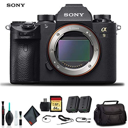 Lowest Price! Sony Alpha a9 Mirrorless Camera ILCE9/B with Soft Bag, Additional Battery, 64GB Memory...