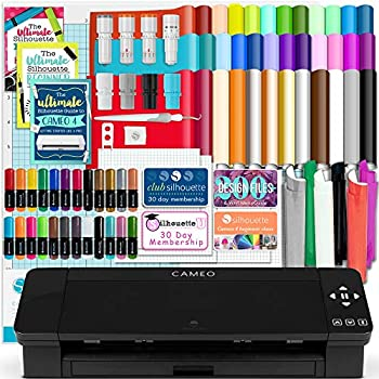 Silhouette Black Cameo 4 w/Blade Pack 38 Oracal Sheets HTV Pens Guides & More