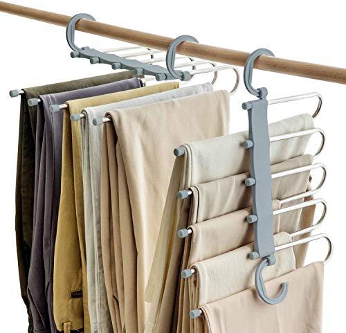 SOSOPIN platzsparende Hosen-Kleiderbügel, rutschfest, 5-lagig, für Schals, Jeans, Hosen (grau, 8 Stück)