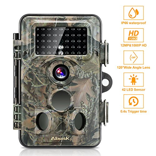 ABASK Wildlife Camera, Trail Surveillance Waterproof Digital Camera 3 Zone Infrared Sensor Trail...