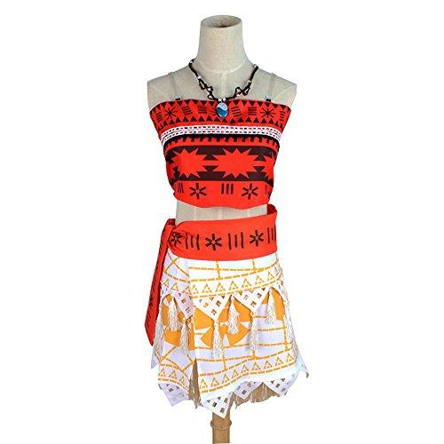 GOGOGO Fille-Robe de princesse cinq pièces costume de Vaïana classique déguisement pour halloween fête - Adulte L