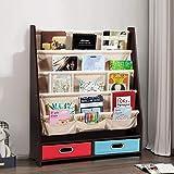 Costzon 2 in 1 Kids Book Rack Storage Bookshelf, Chlidren's Free Standing Bookcase w/ 4 Sling Shelves & 2 Storage Boxes Organizer, Display Shelves for Girls Boys Kids Room, Living Room (Espresso)