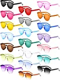 Gejoy 21 Pieces Round Rimless Sunglasses One Piece Transparent Candy Color Tinted Eyewear, Multicoloured, Medium