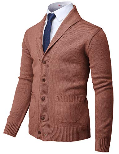 H2H Mens Casual Slim Fit Cardigan Sweater Cable Knitted Button Rose US S/Asia M (CMOCAL037)
