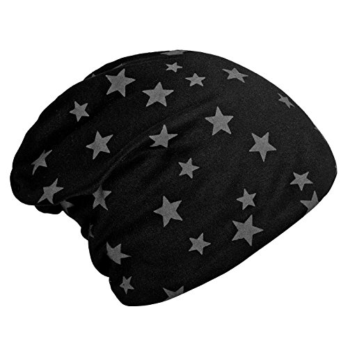 DonDon Mujer Gorro de Invierno Slouch Beanie con Estampado de Estrellas e Forro Interior Suave - Negro