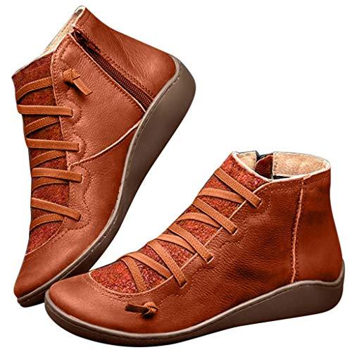 Botas Mujer 2019 Botines Cuero Zapatos de Cordones Vintage Otoño Botas Tacón Plano Cómodas Mujeres Botas Cortas con Cremallera Cabeza Redonda Zapatos Casuales 35-43 riou
