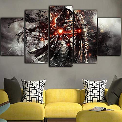 5 Stück Leinwand Hd Spiel Poster Wandkunst Assassins Creed Bilder Leinwand Malerei Wohnkultur Wandbild(NO Frame size 2)