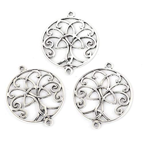 "JGFinds Large Tree of Life Boho Chic Silver Tone Charm Connectors for DIY Jewelry Making, 1 7/8"", 10 Pack"
