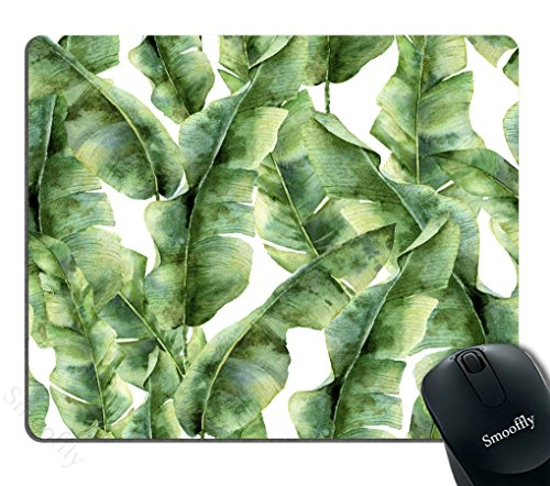 Smooffly Custom Extended Mouse pad,Tropic Plant Watercolor Banana Palm Leaves Mouse Pad Personality Desings Gaming Mousepad