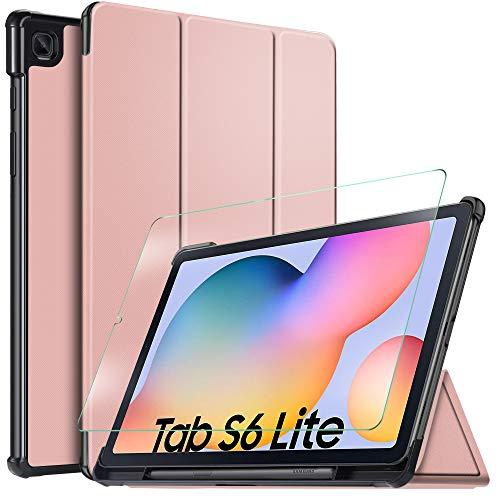 IVSO Hülle für Samsung Galaxy Tab S6 lite + panzerglas, Ultra Schlank Slim Schutzhülle Hochwertiges PU mit Standfunktion Perfekt Geeignet für Samsung Galaxy Tab S6 lite 10.4 Zoll 2020, Rosegold