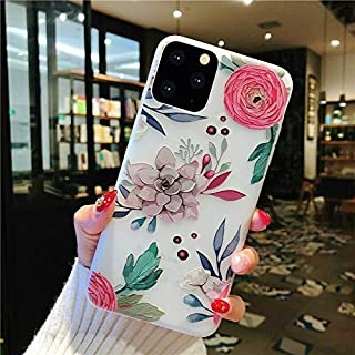 Topwin iPhone 11 6.1'' 2019 Floral Case, 3D Relief Flower Cute TPU Silicon Phone Case Ultra-Thin Slim Lightweight Cover for Girls for Apple iPhone 11 6.1'' 2019 (Green)