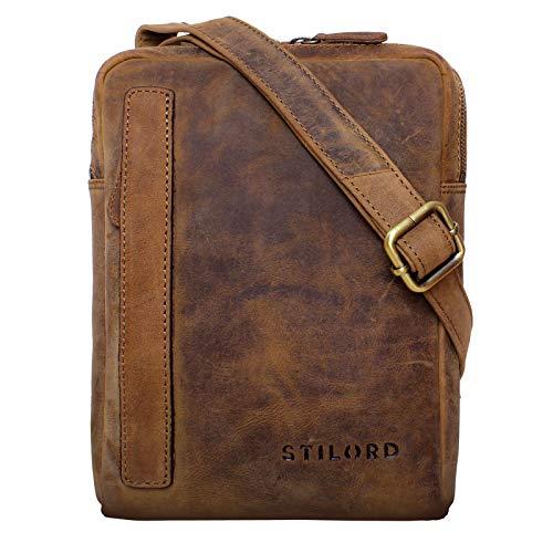 STILORD 'John' Pequeño Bolso de Cuero para Hombre Vintage Bolso de Hombro 8.4 Pulgadas Bolsa Bandolera de Auténtica Piel, Color:marrón - Medio