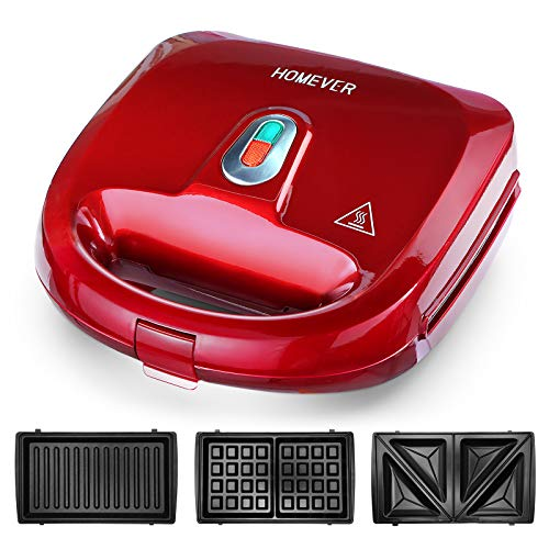 Sandwich Maker, HOMEVER 3-IN-1 W...