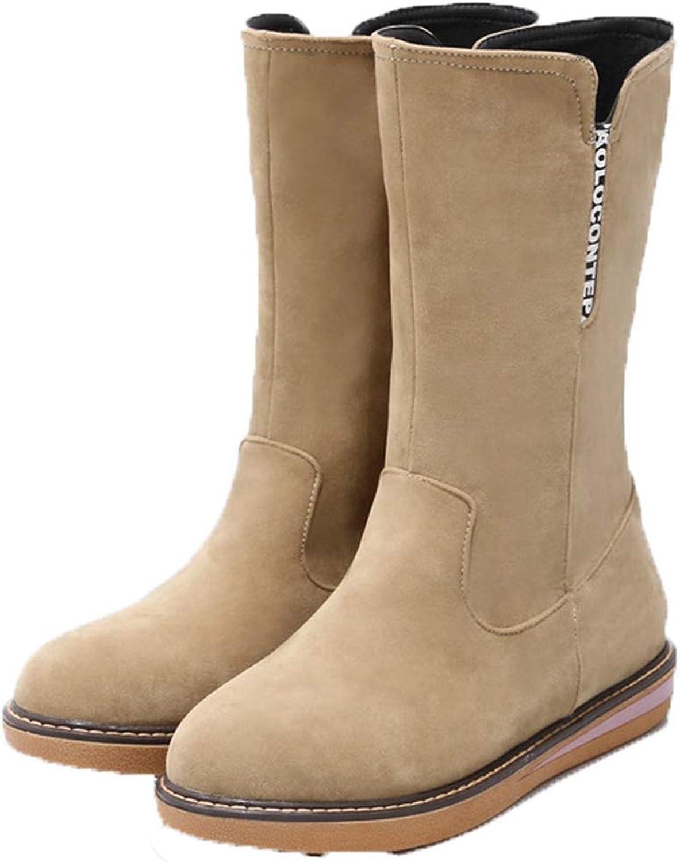 Jim Hugh Women's Mid Calf Boots Popular Autumn Winter Platform Slip-On Round Toe Flat Low Heel shoes