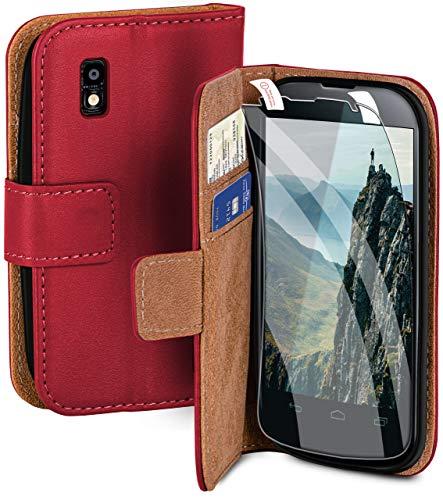 moex Handyhülle für LG Google Nexus 4 - Hülle mit Kartenfach, Geldfach & Ständer, Klapphülle, PU Leder Book Hülle & Schutzfolie - Pink