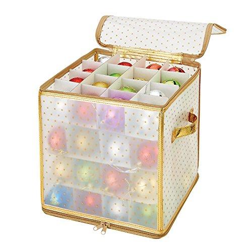 Simplify Ornament Storage Box/Plastic - Decorative Organizer - Storage Bin - Gold - 64 Counts - L12 x W12 x H12